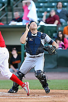 June 20th 2008:  Catcher Robert Alcombrack of the Mahoning Valley Scrappers, Class-A affiliate of the Cleveland Indians, during a game at Frontier Field in Rochester, NY - home of the Rochester Red Wings.  Photo by:  Mike Janes/Four Seam Images