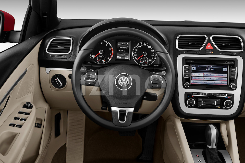 Steering wheel view of a 2012 Volkswagen EOS Komfort