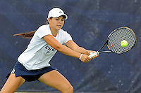 18 March 2012:  FIU's Lisa Johnson returns the ball during her singles match against Columbia's Bianca Sanon as the Columbia Lions defeated the FIU Golden Panthers, 5-2, at University Park in Miami, Florida.