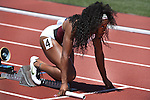 13 JUNE 2015: Jennifer Madu of Texas A&M gets set for the start of the Women's 4X100 meter relay during the Division I Men's and Women's Outdoor Track & Field Championship held at Hayward Field in Eugene, OR. Steve Dykes/ NCAA Photos