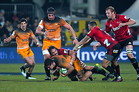 Crusaders' Sam Whitelock tackles Jaguares' Pablo Matera during the 2019 Super Rugby final between the Crusaders and Jaguares at Orangetheory Stadium in Christchurch, New Zealand on Saturday, 6 July 2019. Photo: Dave Lintott / lintottphoto.co.nz