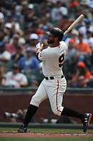 SAN FRANCISCO, CA - APRIL 29:  Brandon Belt #9 of the San Francisco Giants bats against the Los Angeles Dodgers during the game at AT&T Park on Sunday, April 29, 2018 in San Francisco, California. (Photo by Brad Mangin)