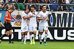 11.08.2019, Carl-Benz-Stadion, Mannheim, GER, DFB Pokal, 1. Runde, SV Waldhof Mannheim vs. Eintracht Frankfurt, <br /> <br /> DFL REGULATIONS PROHIBIT ANY USE OF PHOTOGRAPHS AS IMAGE SEQUENCES AND/OR QUASI-VIDEO.<br /> <br /> im Bild: Daichi Kamada (Eintracht Frankfurt #40) jubelt ueber sein Tor zum 2:1 mit Dejan Joveljic (Eintracht Frankfurt #7) und Dominik Kohr (Eintracht Frankfurt #28)<br /> <br /> Foto © nordphoto / Fabisch