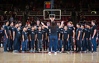 STANFORD, CA - January 26, 2019: Silicon Valley Boys Choir at Maples Pavilion. The Stanford Cardinal defeated the Colorado Buffaloes 75-62.