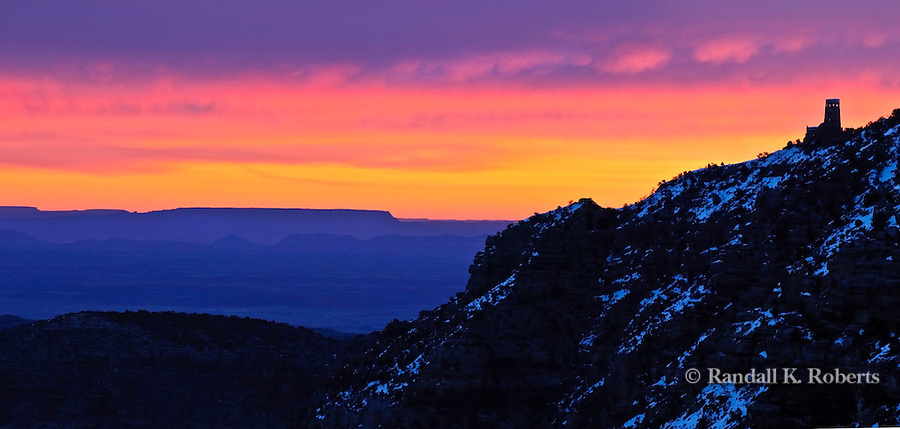 Sunrise view of the Watchtower from Lipan Point,  Grand Canyon National Park, Arizona