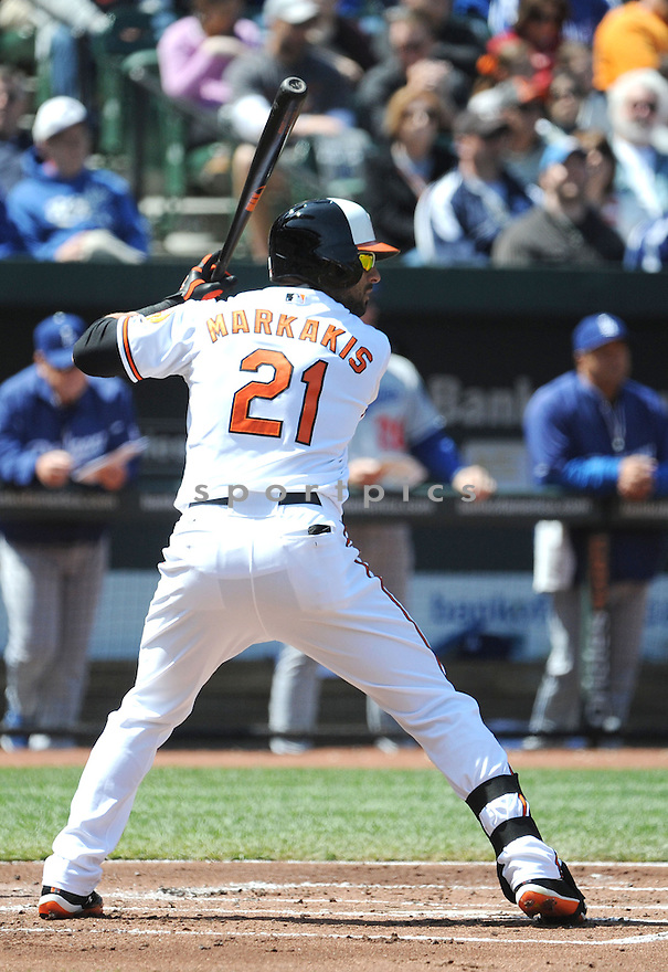 Baltimore Orioles Nick Markakis (21)  during a game against the Los Angeles Dodgers on April 21, 2013 at Oriole Park in Baltimore, MD. The Dodgers beat the Orioles 7-4.