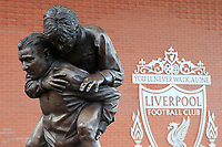 1st February 2020; Anfield, Liverpool, Merseyside, England; English Premier League Football, Liverpool versus Southampton; the newly unveiled statue of  former Liverpool manager Bob Paisley and club captain Emlyn Hughes outside the stadium