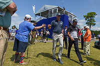 Matt Kuchar (USA) and Bubba Watson (USA) approach the tee on 18 during Round 2 of the Zurich Classic of New Orl, TPC Louisiana, Avondale, Louisiana, USA. 4/27/2018.<br /> Picture: Golffile | Ken Murray<br /> <br /> <br /> All photo usage must carry mandatory copyright credit (&copy; Golffile | Ken Murray)