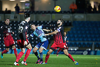Scott Kashket of Wycombe Wanderers battles with Jordan Turnbull (right) of Coventry City during the The Checkatrade Trophy Southern Group D match between Wycombe Wanderers and Coventry City at Adams Park, High Wycombe, England on 9 November 2016. Photo by Andy Rowland.