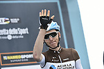 Romain Bardet (FRA) AG2R La Mondial at sign on before the start of Stage 6 of the 53rd edition of the Tirreno-Adriatico 2018 running 153km from Numana to Fano, Italy. 12th March 2018.<br /> Picture: LaPresse/Fabio Ferrari | Cyclefile<br /> <br /> <br /> All photos usage must carry mandatory copyright credit (&copy; Cyclefile | LaPresse/Fabio Ferrari)