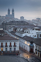 Quito at dawn from Plaza San Francisco towards Basilica del Voto Nacional, Ecuador, South America
