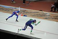SPEED SKATING: SALT LAKE CITY: 21-11-2015, Utah Olympic Oval, ISU World Cup, 1000m Men, Joey Mantia (USA), Kjeld Nuis (NED), ©foto Martin de Jong