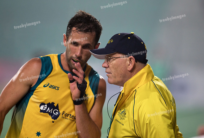 Mens Hockey World league Final Delhi 2014<br /> Day 4, 15-01-2014<br /> Australia v India<br /> Australian captain Mark Knowles discuss a corner set play<br /> Photo: Grant Treeby / treebyimages