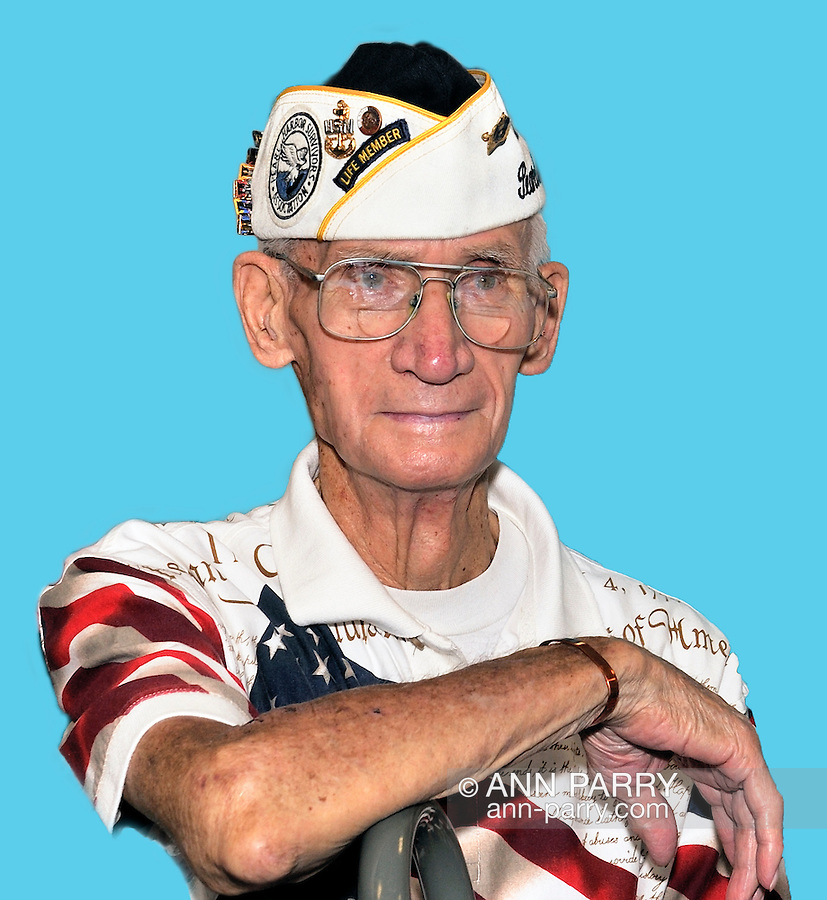 William Halleran, Pearl Harbor survivor, and member of Merrick Post 1282 of American Legion, on August 13, 2011. photo © 2011 Ann Parry, NOTE: Halleran placed on blue backdrop digitally.