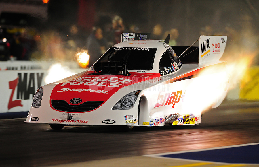 Sept. 16, 2011; Concord, NC, USA: NHRA funny car driver Cruz Pedregon during qualifying for the O'Reilly Auto Parts Nationals at zMax Dragway. Mandatory Credit: Mark J. Rebilas-
