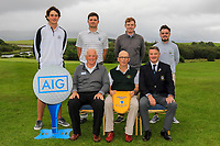 Co. Sligo winners of the AIG Barton Shield Connacht Pennant at the AIG Cups & Shields Connacht Finals 2019 in Westport Golf Club, Westport, Co. Mayo on Saturday 10th August 2019.<br /> <br /> Back Row: Daniel Ford, TJ Ford, Ruairi O'Connor and Thomas Finnegan.<br /> Front Row: Brendan McKenna (Sponsor: AIG), Serryth Heavey (Team Captain) and Niall MacSweeney (Hon Treasurer Connacht Branch).<br /> <br /> Picture:  Thos Caffrey / www.golffile.ie<br /> <br /> All photos usage must carry mandatory copyright credit (© Golffile | Thos Caffrey)
