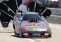 Apr 25, 2015; Baytown, TX, USA; NHRA funny car driver Matt Hagan during qualifying for the Spring Nationals at Royal Purple Raceway. Mandatory Credit: Mark J. Rebilas-