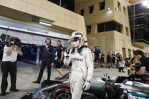 02.04.2016. Sakhir, Bahrain. F1 Grand Prix of Bahrain, qualification Saturday.   44 Lewis Hamilton (GBR, Mercedes AMG Petronas Formula One Team) celebrates taking pole