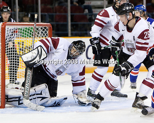 Nauris Enkuzens (Latvia - 1), Kriss Grundmanis (Latvia - 26) - Slovakia defeated Latvia 7-2 on Saturday, December 27, 2008, at the Ottawa Civic Centre Arena in Ottawa, Ontario, during the 2009 World Junior Championship.