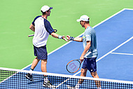 Washington, DC - August 6, 2017: John Peers (AUS) and Henri Kontinen (FIN) celebrate a point against Lukasz Kubot (POL) and Marcelo Melo (BRA) during the Citi Open Doubles Finals at Rock Creek Tennis Center, in Washington D.C. (Photo by Philip Peters/Media Images International)