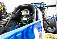 Feb 21, 2020; Chandler, Arizona, USA; NHRA top fuel driver Leah Pruett during qualifying for the Arizona Nationals at Wild Horse Pass Motorsports Park. Mandatory Credit: Mark J. Rebilas-USA TODAY Sports
