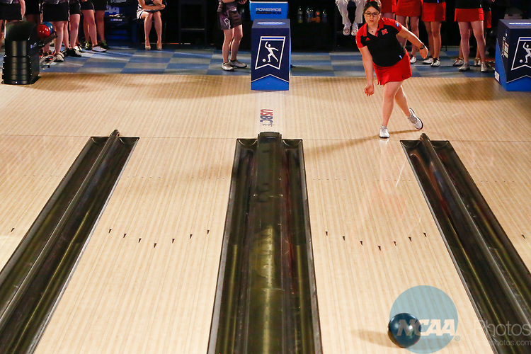 BATON ROUGE, LA - APRIL 15: Raquel Orozco #14 of the Nebraska Cornhusker bowls during the Division I Women's Bowling Championship held at the Baton Rouge River Center on April 15, 2017 in Baton Rouge, Louisiana. (Photo by Tim Nwachukwu/NCAA Photos via Getty Images)