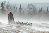 Nathan Schroeder of Minnesota runs on the trail in 30 mph winds and  through tussocks several miles after leaving the Unalakleet checkpoint on Monday March 16, 2015 during Iditarod 2015.  <br /> <br /> (C) Jeff Schultz/SchultzPhoto.com - ALL RIGHTS RESERVED<br />  DUPLICATION  PROHIBITED  WITHOUT  PERMISSION