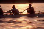 Rowing, crews competing at sunset, blur motion, Boston, Massachusetts,