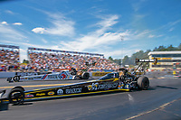 Sep 16, 2018; Mohnton, PA, USA; NHRA top fuel driver Leah Pritchett (near) against Antron Brown during the Dodge Nationals at Maple Grove Raceway. Mandatory Credit: Mark J. Rebilas-USA TODAY Sports