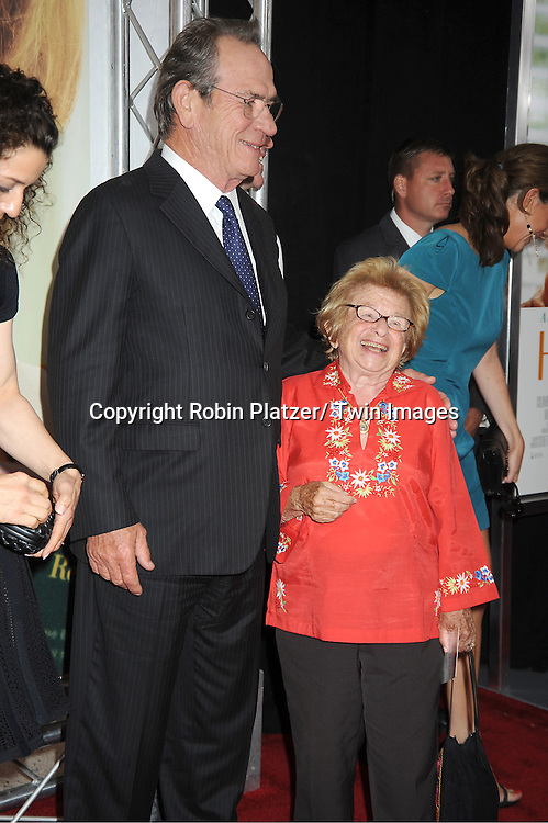"""Tommy Lee Jones and Dr Ruth Westheimer attends the World Premiere of """"Hope Springs"""" on August 6, 2012 at The SVA Theatre in New York City. The movie stars Meryl Streep, Tommy Lee Jones and Steve Carrell."""