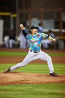 Idaho Falls Chukars relief pitcher Brady Cox (7) delivers a pitch during a Pioneer League game against the Missoula Osprey at Melaleuca Field on August 20, 2019 in Idaho Falls, Idaho. Idaho Falls defeated Missoula 6-3. (Zachary Lucy/Four Seam Images)