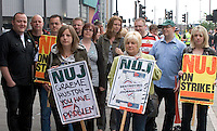 Journalists at the Doncaster Free Press, South Yorkshire Times, Selby Times and Epworth Bells are on indefinite strike since July 15 over job cuts, office closures, increased workloads and a lack of faith in management..Strikers marched on 6th August from Frenchgate, Doncaster, through the town centre, ending with a rally and speeches at Doncaster market place opposite offices of the Doncaster Free Press.  ..