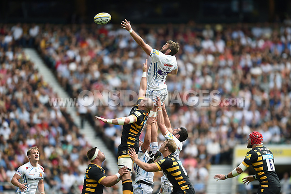 Geoff Parling of Exeter Chiefs wins the ball at a lineout. Aviva Premiership Final, between Wasps and Exeter Chiefs on May 27, 2017 at Twickenham Stadium in London, England. Photo by: Patrick Khachfe / JMP