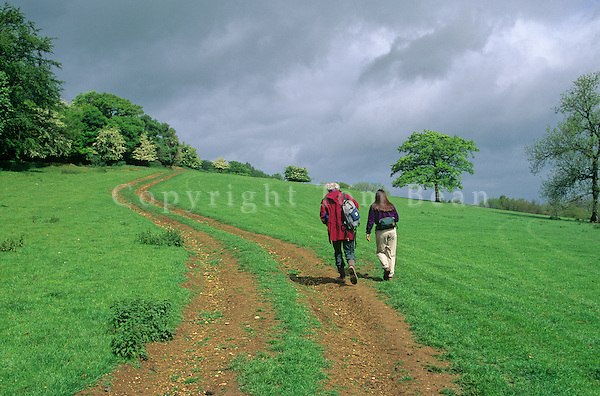 Walkers on public footpath at Guiting Wood in the Cotswolds, Gloucestershire, England, AGPix_0132.