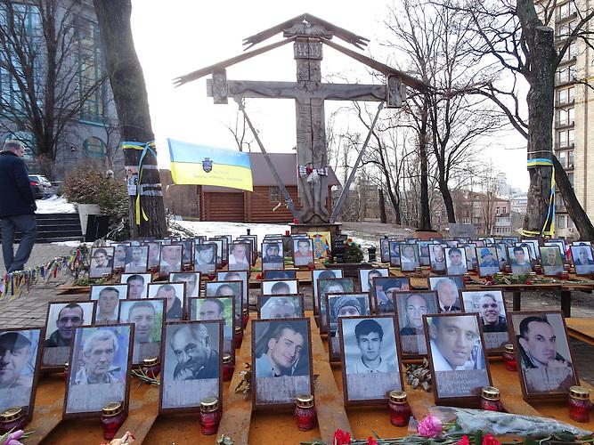 Gedenken auf dem Maidan-Platz in Kiew zwei Jahre nach den Protesten im Februar 2014.
