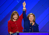 United States Representative Linda Sanchez (Democrat of California), right, accompanied by her sister US Representative Loretta Sanchez (Democrat of California), left, makes remarks at the 2016 Democratic National Convention at the Wells Fargo Center in Philadelphia, Pennsylvania on Monday, July 25, 2016.<br /> Credit: Ron Sachs / CNP<br /> (RESTRICTION: NO New York or New Jersey Newspapers or newspapers within a 75 mile radius of New York City)