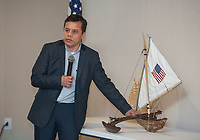 NWA Democrat-Gazette/BEN GOFF @NWABENGOFF<br /> Eldon Alik, Republic of the Marshall Islands Consul General, talks about the importance of the canoe in Marshallese culture Saturday, April 14, 2018, during a ceremony to launch a project to build a Marshallese KorKor, a type of outrigger canoe, at the Shiloh Museum of Ozark History in Springdale. Over the coming weeks master builder Liton Beasa, born and raised on Namdrik Atoll in the Marshall Islands and living in Springdale since 2013, and his family will build a roughly 20 foot long KorKor at the museum with opportunities for school groups and the public to observe. On the Marshall Islands canoes are built from breadfruit trees, but this canoe will be built from a locally-sourced sycamore tree. The builders plan to feature the finished canoe during Jemenei Day (Marshallese constitution day) celebrations in Springdale between May 25-28. The project is supported by the Arkansas Coalition of Marshallese of Springdale and the Shiloh Museum of Ozark History, with grants from the Arkansas Humanities Council and the National Endowment for the Humanities.