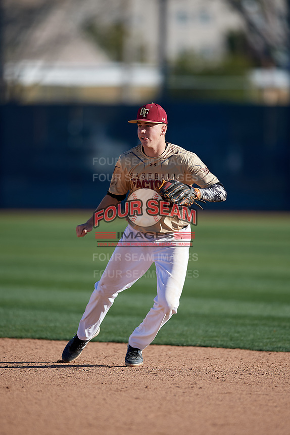 Hunter Haas during the Under Armour All-America Pre-Season Tournament, powered by Baseball Factory, on January 19, 2019 at Fitch Park in Mesa, Arizona.  Hunter Haas is a shortstop from Phoenix, Arizona who attends Corona Del Sol High School and is committed to Oregon State University.  (Mike Janes/Four Seam Images)