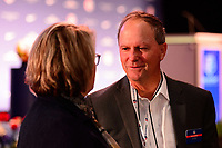 Philadelphia, PA - Thursday January 18, 2018: Anson Dorrance during the 2018 NWSL College Draft at the Pennsylvania Convention Center.