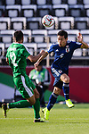 Nagatomo Yuto of Japan (R) fights for the ball with Annaorazov Serdar of Turkmenistan (L) during the AFC Asian Cup UAE 2019 Group F match between Japan (JPN) and Turkmenistan (TKM) at Al Nahyan Stadium on 09 January 2019 in Abu Dhabi, United Arab Emirates. Photo by Marcio Rodrigo Machado / Power Sport Images