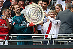 Manager of Arsenal Arsene Wenger and Petr Cech of Arsenal lift the Shield after the The FA Community Shield match at Wembley Stadium, London. Picture date 6th August 2017. Picture credit should read: Charlie Forgham-Bailey/Sportimage