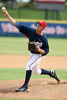 October 5, 2009:  Pitcher Matt Swynenburg of the Washington Nationals organization delivers a pitch during an Instructional League game at Space Coast Stadium in Viera, FL.  Swyneburg was selected in the 28th round of the 2009 draft.  Photo by:  Mike Janes/Four Seam Images