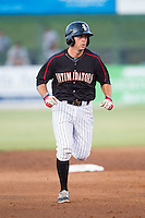 Ryan Leonards (12) of the Kannapolis Intimidators rounds the bases after hitting his first professional home run against the Delmarva Shorebirds at CMC-NorthEast Stadium on July 2, 2014 in Kannapolis, North Carolina.  The Intimidators defeated the Shorebirds 6-4. (Brian Westerholt/Four Seam Images)