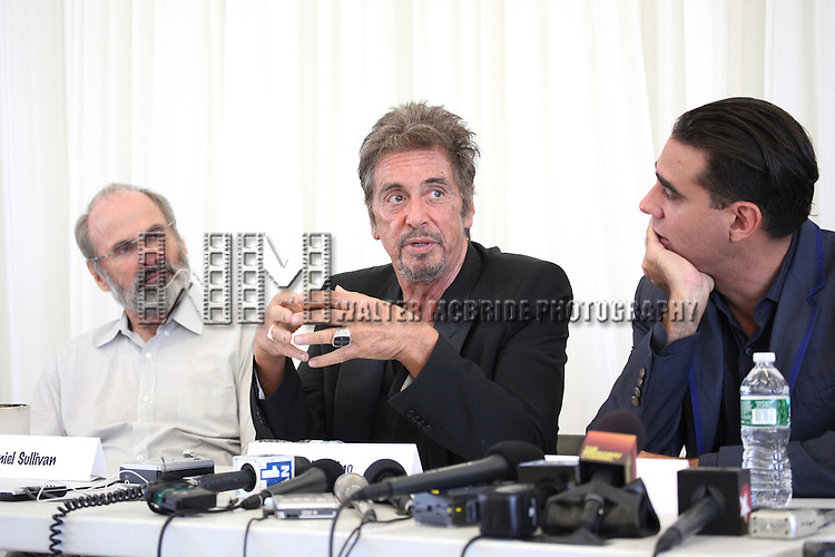 Director Daniel Sullivan, Al Pacino, Bobby Cannavale attending the 'Glengarry Glen Ross' Media Day at Ballet Hispanico Rehearsal Studios in New York City on 9/19/2012.