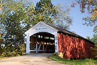 Sim Smith Covered Bridge, built in 1883, over Leatherwood Creek, Parke County, near Armiesburg, Indiana. Armiesburg Indiana, Parke County.
