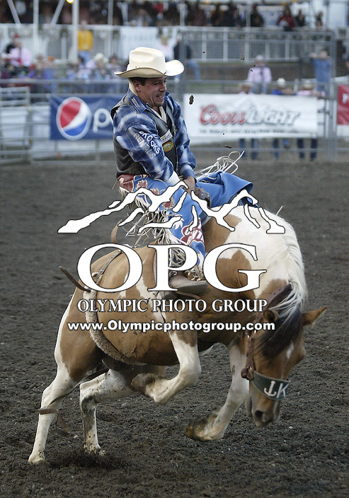 29 Aug 2009:   Dusty LaValley scored a 73 in the Bareback Riding competition at the Kitsap County Wrangler Million Dollar PRCA Pro Rodeo Tour in Bremerton, Washington.