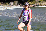 NELSON LAKES, NEW ZEALAND - APRIL 18:  Ina Kinski crosses the Travers River during the 2015 Alpine Lodge Loop The Lake trail run at Lake Rotoiti on April 18 16, 2015 in Nelson, New Zealand. (Photo by Marc Palmano/Shuttersport Limited)