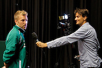 11-sept.-2013,Netherlands, Groningen,  Martini Plaza, Tennis, DavisCup Netherlands-Austria, Practice, Footbal Club FC Groningen is visiting the Dutch team, Top Player FC Groningen is interviewed by Tennis TV reporter Jan Willem de Lange<br /> Photo: Henk Koster