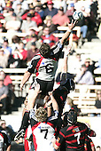 Kristian Ormsby manages to get his finger tips to a lineout throw during the Ranfurly Shield challenge against Canterbury at Jade Stadium on the 10th of September 2006. Canterbury won 32 - 16.