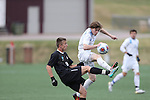 SALEM, VA - DECEMBER 3:Jacob Witte (9) of Calvin College battles for the ball during theDivision III Men's Soccer Championship held at Kerr Stadium on December 3, 2016 in Salem, Virginia. Tufts defeated Calvin 1-0 for the national title. (Photo by Kelsey Grant/NCAA Photos)